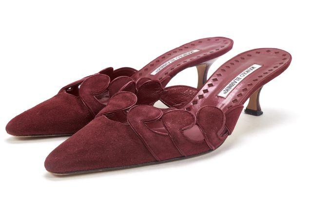 MANOLO BLAHNIK Red Suede Slide On Heels