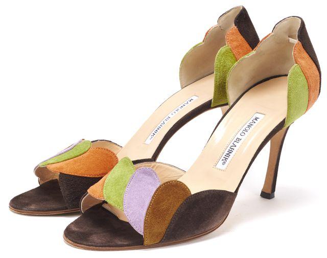 MANOLO BLAHNIK Brown Orange Green Suede Open-Toe Heels