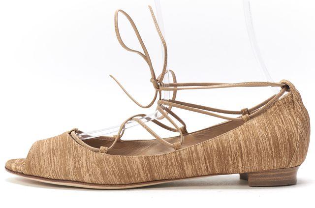 MANOLO BLAHNIK Beige Suede Peep Toe Ankle Wrap Flats