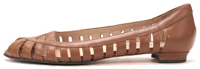 MANOLO BLAHNIK Brown Leather Caged Peeptoe Flats