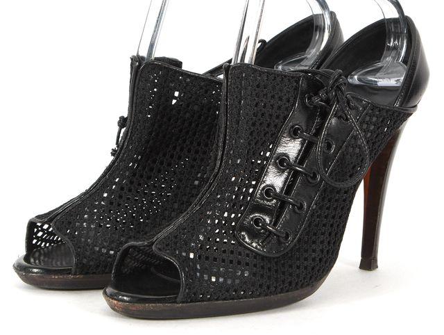 MANOLO BLAHNIK Black Leather Mesh Tie-Up Slide Peep Toe Heels