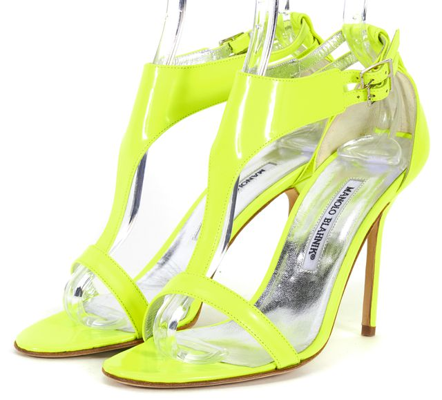 MANOLO BLAHNIK Neon Green Patent Leather Ankle T-Strap Strittina Heels