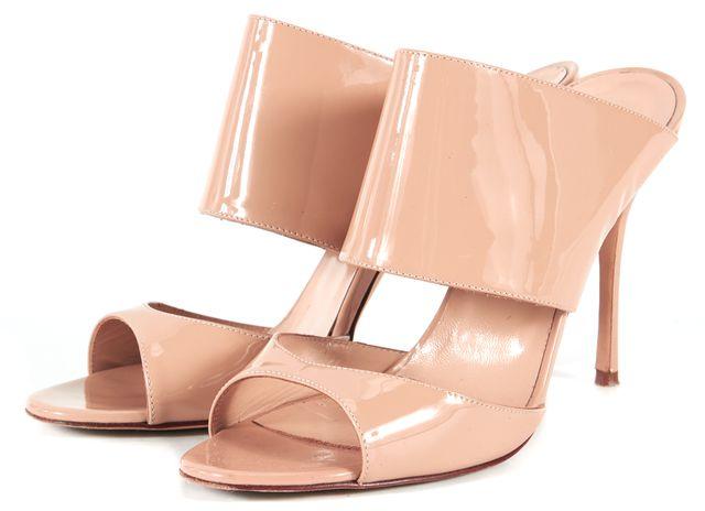 MANOLO BLAHNIK Beige Patent Leather Slip-On Sandal Heels