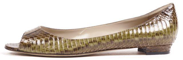 MANOLO BLAHNIK Brown Green Snakeskin Leather Open Toe Flats