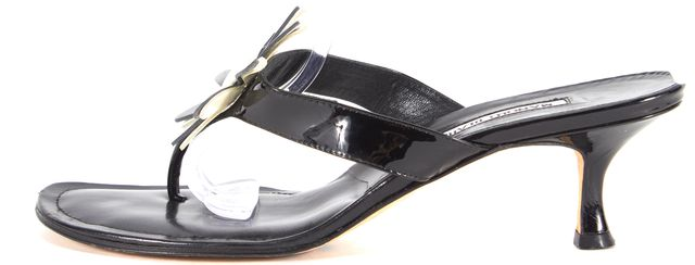 MANOLO BLAHNIK Black Patent Leather Flower Embellished Sandals