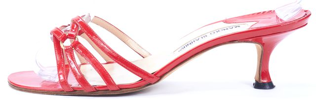 MANOLO BLAHNIK Red Patent Leather Sandal Kitten Heels