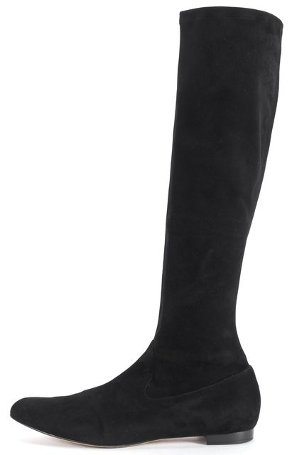 MANOLO BLAHNIK Black Suede Pascalare Flat Knee-Length Boots
