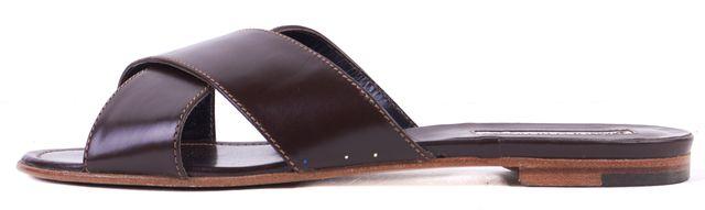 MANOLO BLAHNIK Dark Brown Leather Otawi Slide Sandals