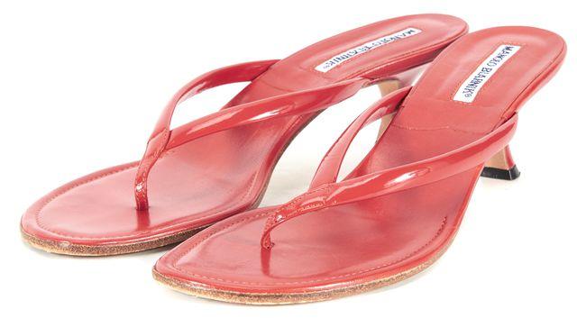 MANOLO BLAHNIK Blood Orange Patent Leather Slide Sandal Heels