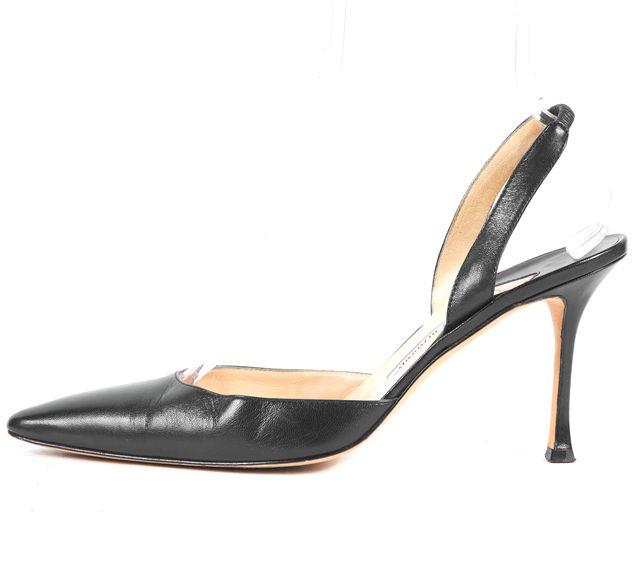 MANOLO BLAHNIK Navy Blue Leather Slingback Heels Size EU 40.5 US 10.5