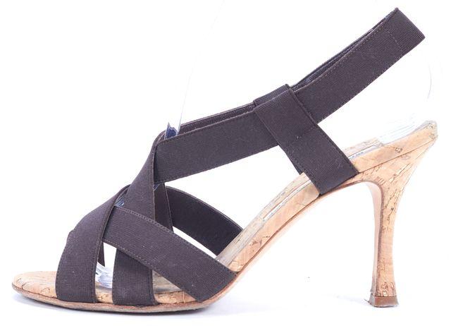 MANOLO BLAHNIK Brown Canvas Criss-Cross Pumps Sandals Heels