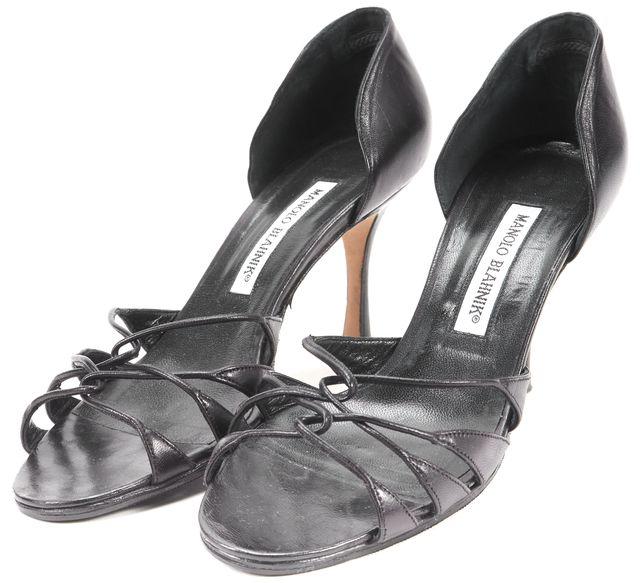 MANOLO BLAHNIK Black Leather Woven Front Sandals Pumps Heels