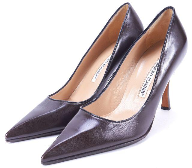 MANOLO BLAHNIK Dark Brown Leather Pointed Toe Pumps Heels