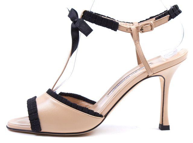 MANOLO BLAHNIK Dusty Pink Black Leather Liss Sandal Heels