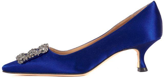 MANOLO BLAHNIK Blue Crystal Embellished Pointed Toe Heels