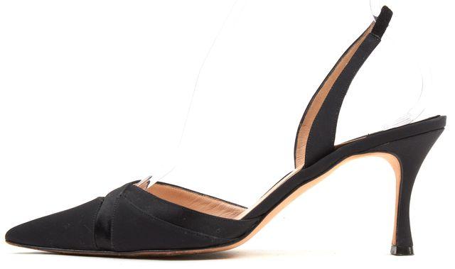 MANOLO BLAHNIK Black Satin Pointed Toe Sling Back Sandal Heels