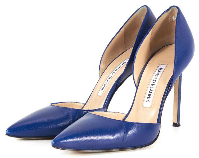 MANOLO BLAHNIK Blue Leather M Tayler D'orsay Pointed Toe Pump Heels