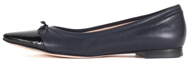MANOLO BLAHNIK Navy Blue Black Leather Pointed Cap Toe Wendy Flats