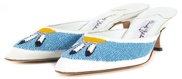 MANOLO BLAHNIK White Bead Embellished Leather Totemny Mule Heels