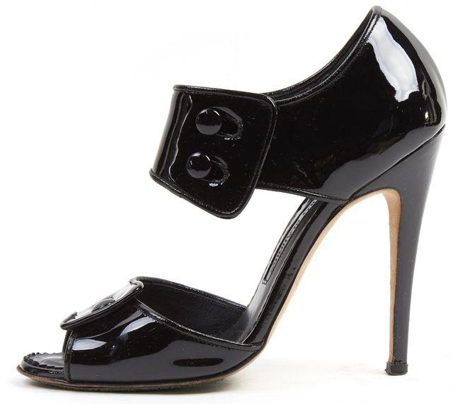 MANOLO BLAHNIK Black Patent Leather Catarany Sandal Heels