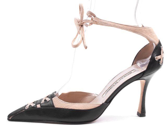 MANOLO BLAHNIK Black Beige Leather Pointed Toe Lace-Up Heels