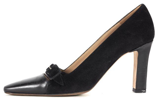 MANOLO BLAHNIK Black Suede Trim Leather Cap Pointed Toe Heels