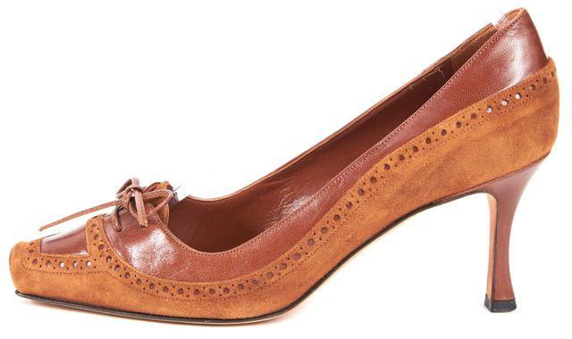 MANOLO BLAHNIK Brown Suede Leather Square Toe Oxford Heels