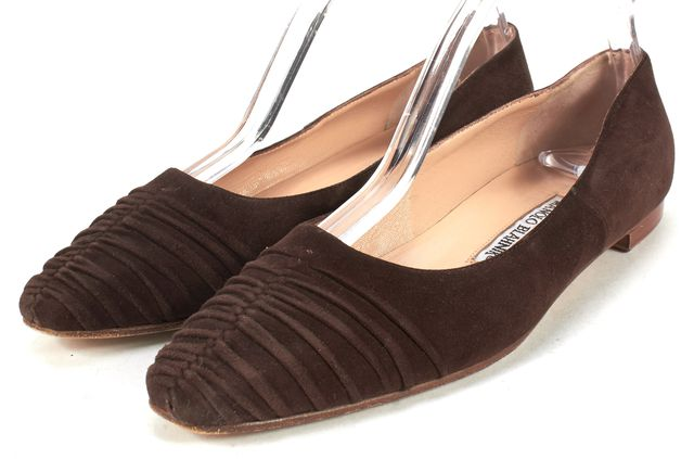 MANOLO BLAHNIK Brown Suede Pointed Toe Ballet Flats
