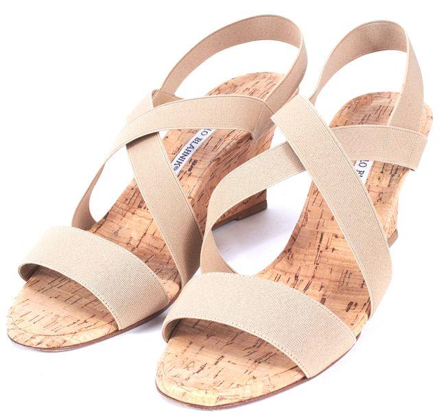 MANOLO BLAHNIK Beige Elastic Strappy Cork Sandal Wedges