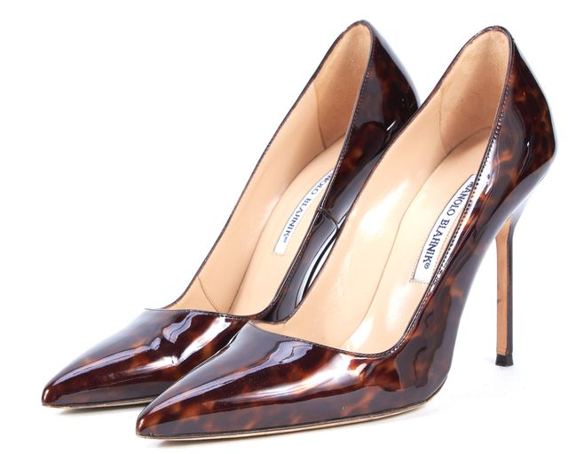 MANOLO BLAHNIK Brown Tortoise Patent Leather Pointed Toe BB Heels