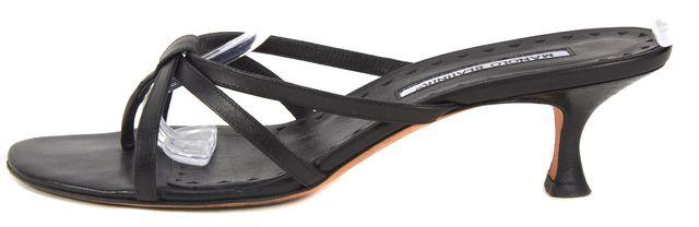 MANOLO BLAHNIK Black Leather Calto Slip-On Sandal Heels