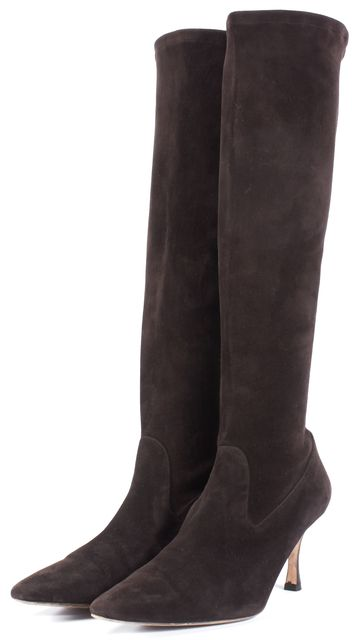 MANOLO BLAHNIK Brown Suede Pull-Up Tall Boots