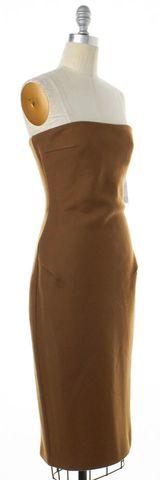 MAXMARA Brown Wool Strapless Midi Sheath Dress Fits Like
