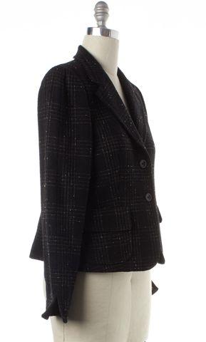 MAXMARA Black Beige Check Wool Two Button Blazer Jacket