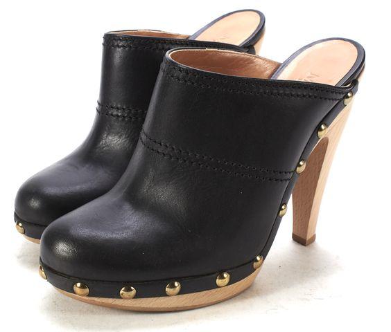 MAXMARA Black Leather Slip-on Mule Clogs Wooden Heels