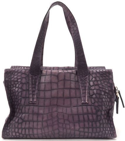 MAXMARA Purple Leather Croc Embossed Top Handle Shoulder Bag