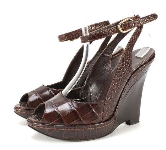 MAXMARA Brown Croc Embossed Leather Ankle Wrap Wedges Size 36