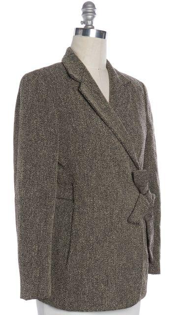 MAXMARA Brown Tweed Wool Buttonless Short Wrap Coat