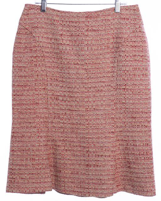 MAXMARA Pink Red Beige Tweed Pencil Skirt