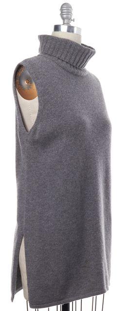 MAXMARA Gray Wool Sleeveless Side Open Turtleneck Tunic Top