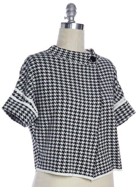 MAXMARA Black White Houndstooth Print Cotton One Button Cardigan Sweater