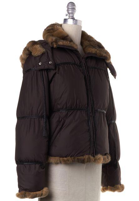MAXMARA Brown Puffer Rabbit Fur Trim Coat