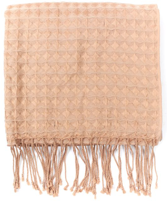 MAXMARA Brown Silk Wool Blend Long Fringe Scarf