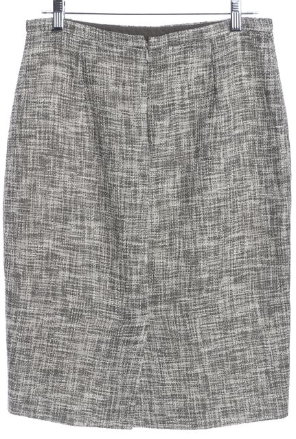 MAXMARA Gray White Tweed Pencil Skirt