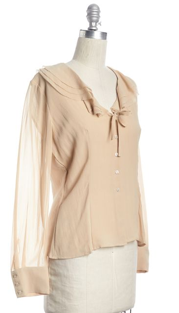 MAXMARA Ivory Silk Ruffled Neck Long Sleeve Blouse Top