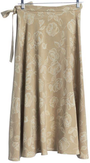 MAXMARA Beige Floral Printed Raw Woven Silk Side Tie Midi Wrap Skirt
