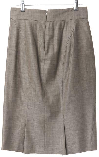 MAXMARA Gray Virgin Wool Blend Knee-Length Pencil Skirt