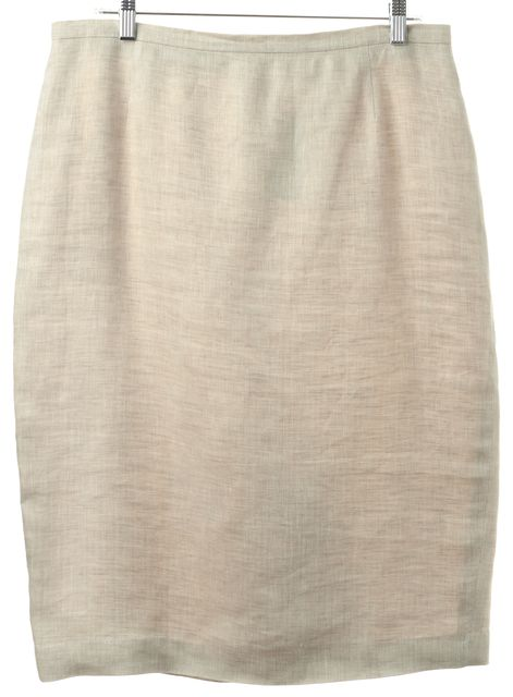 MAXMARA Beige Linen Pencil Skirt