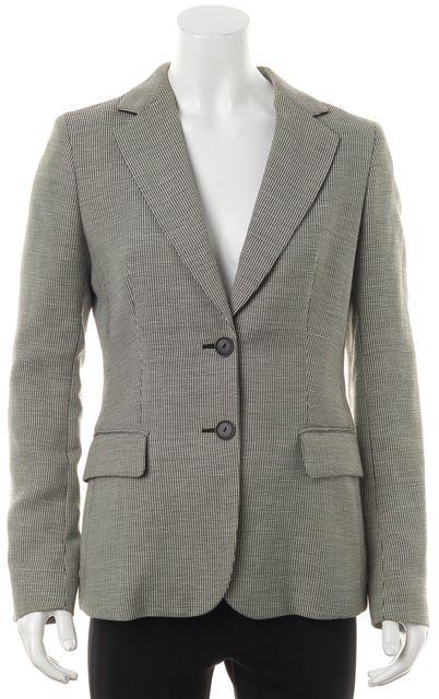 MAXMARA Black White Small Check Wool Blazer Jacket