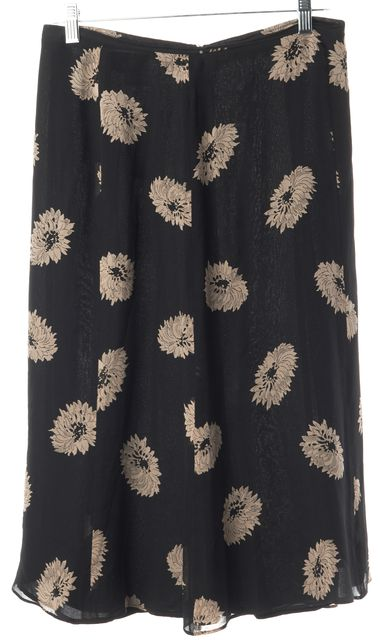 MAXMARA Black Floral Silk Full Skirt